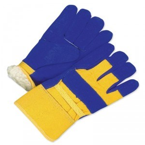 Fitter Glove Split Cowhide Pile Blue/Gold - Lined