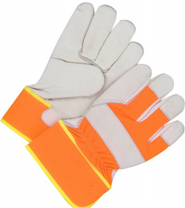 Grain Cowhide Fitter w/Safety Cuff, Hi-Viz - Unlined